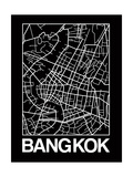Black Map of Bangkok Reproduction d'art par NaxArt