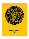 Brussels Street Map Yellow Reproduction d'art par NaxArt