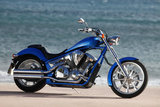 Motorcycle  Honda  Cruiser  Blue  Sea in the Background  Side Standard Right