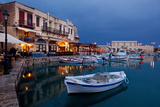 Greece  Crete  Rethimnon  Venetian Harbour  Illuminated  in the Evening