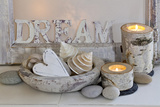 Decoration  White  Window Frames  'Dream'  Candles  Bowls  Mussels  Stones  Heart