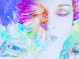 A Collage of Close-Up Portraits Layered with Flowers in Rainbow Colors