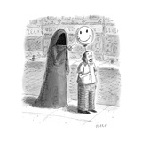 The Grim Reaper popping a smiley face balloon a man is holding - New Yorker Cartoon