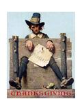 Thanksgiving-Ye Glutton (or Pilgrim in Stockade)