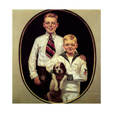 Two Boys with Dog