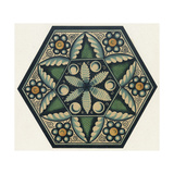 Stylized Flower on Hexagonal Tile with Small Spirals and Circle Flowers