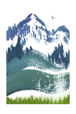 Painterly Snowy Mountain Scene with Bird in Sky