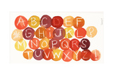 White Crayon-Drawn Alphabet on Colorful Dots