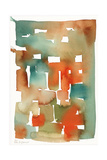 Abstract Watercolor Pattern in Orange and Teal