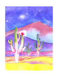 Three Cacti Together in the Middle of the Desert at Night