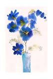 Watercolor of Blue Flowers in Vase