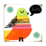 Collage Bird with Hello Lettering in Word Balloon