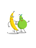 Happy Banana and Pear Walking Arm in Arm