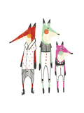 Whimsical-Style Foxes Wearing Shirts and Pants