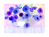 Purple and Blue Flowers in White Vase