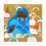 Collage of a Walrus with Trees in Background Reproduction d'art