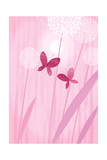 Butterflies with Dandelions on Pink