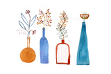 Colorful Graphic Vases on White Background