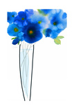 Watercolor of Blue Flowers with Long Stems in Vase