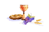 Chalice  Grapes  Bread and Wheat in Watercolor