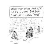 """""""Shortstop Buddy Harkin sits down during 'We Will Rock You' """" - Cartoon"""