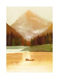 Man and Dog on Canoe on Mountain Lake