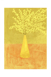 Forsythia in a Vase on Orange Surface
