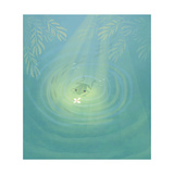 Frog Swimming Towards Bug Sitting on Pond's Surface Reproduction d'art