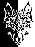 Black White Wolf Animal Wolves Reproduction d'art par Wonderful Dream