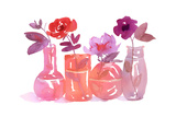 Watercolor of Four Flowers in Glass Vases