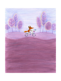 Fox Riding Bicycle Through Purple Tree-Lined Landscape