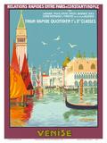 Venice (Venise), Italy - Venetian Grand Canal - Fast Train Daily Reproduction d'art par Geo Dorival