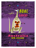 Australia - New Zealand - BOAC (British Overseas Airways Corporation) Reproduction d'art par Maurice Laban