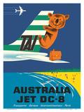 Australia - TAI (Transports Aérien Internationaux) - Douglas Jet DC-8 - Koala Bear Reproduction d'art par Seguin