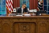 President Barack Obama at His Oval Office Desk  Sept 7  2011