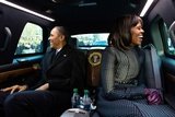 President Barack Obama and First Lady Michelle Obama Ride in the Inaugural Parade