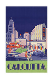 1938 Travel Poster Shows People Gathered by the Newly Opened Metro Cinema in Calcutta