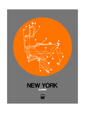 New York Orange Subway Map Reproduction d'art par NaxArt