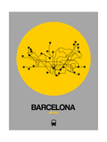 Barcelona Yellow Subway Map Reproduction d'art par NaxArt