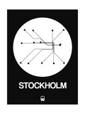 Stockholm White Subway Map Reproduction d'art par NaxArt
