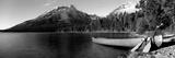 Canoe in Lake in Front of Mountains  Leigh Lake  Rockchuck Peak  Teton Range