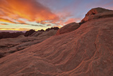 Brilliant Orange Clouds at Sunrise over Sandstone  Valley of Fire State Park  Nevada