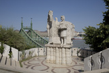 Statue of Saint Stephen Kiraly Near Liberty Bridge  Budapest  Hungary  Europe