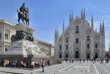 Equestrian Statue of Victor Emmanuel Ii and Milan Cathedral (Duomo)  Piazza Del Duomo  Milan