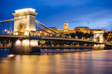 View across Danube River of Chain Bridge and Buda Castle at Night  UNESCO World Heritage Site