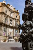 Decorative Lamp Post and Piazza Quattro Canti in Palermo  Sicily  Italy  Europe