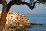 Historic Houses on the Rocky Coastline of Cefalu  Sicily  Italy  Mediterranean  Europe