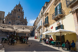 People Dining in Piazza Duomo in Front of Cathedral of San Giorgio in Ragusa Ibla