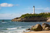 Rocks on the Sandy Beach and the Lighthouse in Biarritz  Pyrenees Atlantiques  Aquitaine