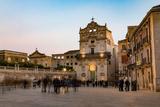 People Enjoying Passeggiata in Piazza Duomo on the Tiny Island of Ortygia